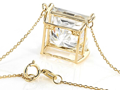 Pre-Owned MOISSANITE FIRE(R) 10.32CT DEW SQUARE BRILLIANT 14K YELLOW GOLD 18 INCH NECKLACE - Size 18