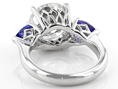 Pre-Owned MOISSANITE FIRE(R) 4.75CT DEW ROUND 1.42CTW PEAR SHAPE TANZANITE PLATINEVE(R) RING - Size 7