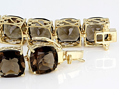 Pre-Owned 85.00CTW CUSHION SMOKY QUARTZ 18K YELLOW GOLD OVER STERLING SILVER BRACELET - Size 8