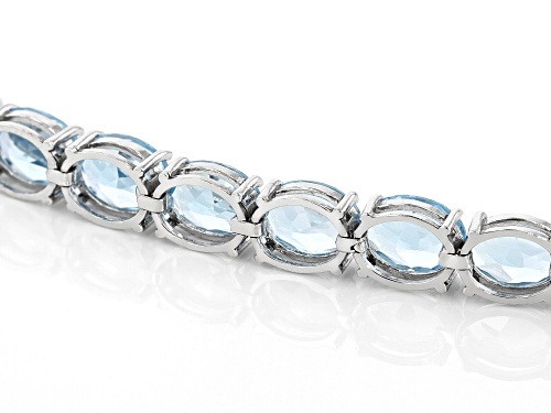 Pre-Owned Blue Topaz 44.00ctw Rhodium Over Sterling Silver Line Bracelet - Size 7.25