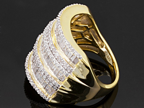 Pre-Owned 2.00ctw Baguette, & Round Diamond 14k Yellow Gold Over Sterling Silver Wide Band - Size 5