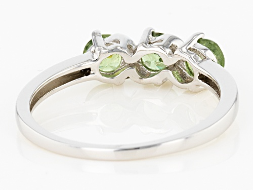 Pre-Owned .69ctw Round Demantoid Garnet And .01ctw Round 2 White Diamond Accent 3-Stone Silver Ring - Size 9