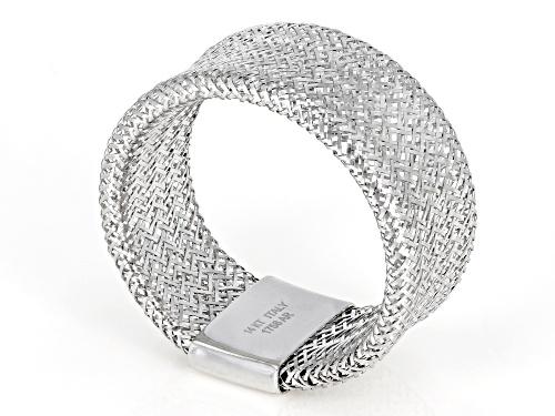 Pre-Owned Splendido Oro™ 14k White Gold 8mm Mesh Link Stretch Band Ring