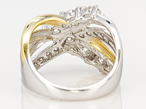 Pre-Owned Moissanite Fire® 1.30ctw Dew Platineve™ With 14k Yellow And Rose Gold Over Platineve Ring - Size 8