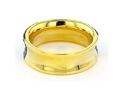 Pre-Owned 1.29ctw Round Champagne Diamond 14k Yellow Gold Over Sterling Silver Wide Band Ring - Size 7