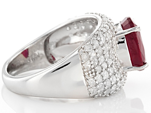 Pre-Owned 2.98ct Oval Mahaleo® Ruby With 1.14ctw Round White Diamond Sterling Silver Ring - Size 6