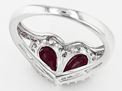 1.73ctw Pear Shape raspberry color Rhodolite And .19ctw Round White Zircon Sterling Silver Ring - Size 11