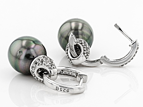 10-11mm Cultured Tahitian Pearl With .80ctw White Topaz Rhodium Over Silver Dangle Huggie Earring
