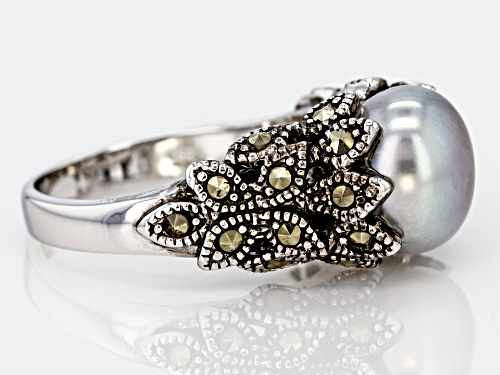 9.5-10mm Silver Cultured Freshwater Pearl With Marcasite Rhodium Over Sterling Silver Ring - Size 7