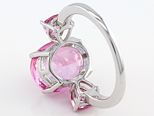 5.94ctw Oval And Trillion Pink Topaz Sterling Silver Ring - Size 12