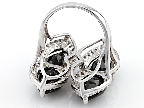 12.01ctw Pear Shape Black Spinel With 1.28ctw Round White Zircon Sterling Silver Ring - Size 5