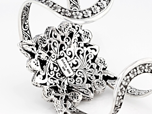 Artisan Collection Of Bali™ Sterling Silver With 18k Gold Accent Filigree Flower Cuff Bracelet