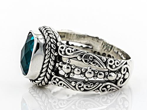 Artisan Collection Of Bali™ 9x7mm Rectangular Cushion Paraiba Color Quartz Triplet Silver Ring - Size 6