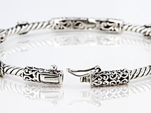 Artisan Collection Of Bali™ 1.00ctw 4mm Round Bali Hai™ Topaz Sterling Silver Bangle Bracelet - Size 7