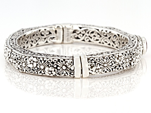 Artisan Collection Of Bali™ 2.13ct 8mm Round Mahaleo® Ruby Sterling Silver Bangle Bracelet - Size 6.75