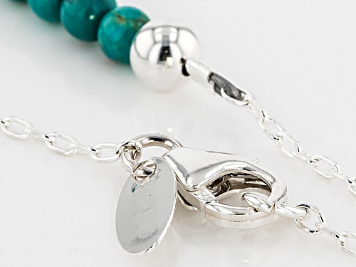 Southwest Style By Jtv™ 4mm Round Bead With 10x7mm Briolette Turquoise Sterling Silver Necklace - Size 18