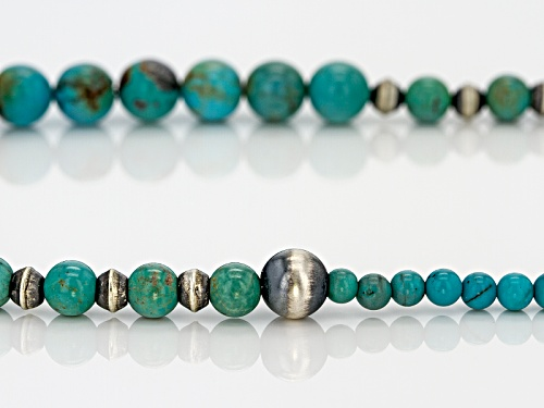 Southwest Style By Jtv™ Graduated Round 3mm, 6mm, And 8mm Kingman Turquoise Silver Bead Necklace - Size 18