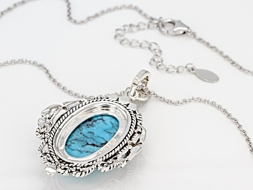 Southwest Style By JTV™ 25x15mm Oval Kingman Turquoise Silver Feather Detail Enhancer With Chain
