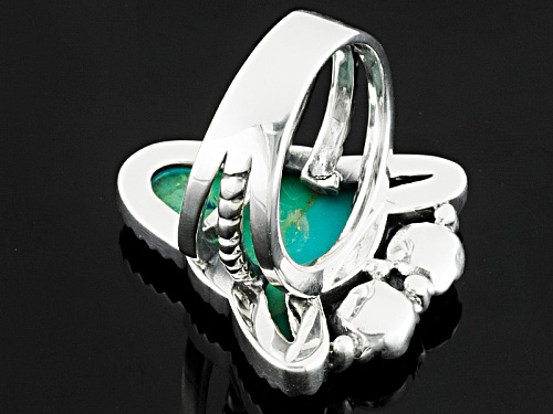 Southwest Style By Jtv™ Fancy Shape Cabochon Turquoise Sterling Silver Bull Ring - Size 5
