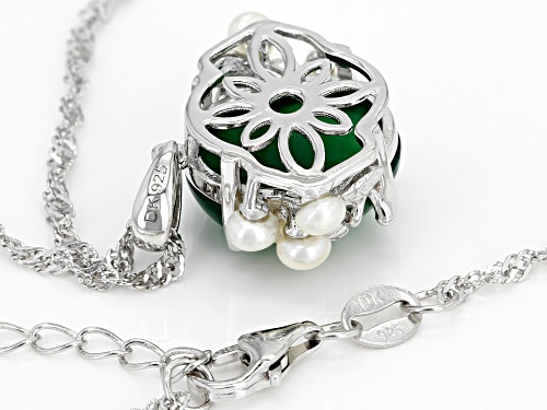 14x12mm Oval Green Onyx & 3mm Round Cultured Freshwater Pearl Rhodium Over Silver Pendant W/Chain