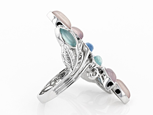 Marquise Pink, Aqua Color & Blue Chalcedony Rhodium Over Sterling Silver Ring - Size 7