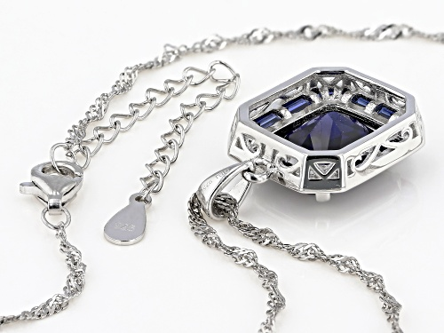 7.32CTW RECTANGULAR OCTAGONAL/BAGUETTE LAB CREATED BLUE SAPPHIRE RHODIUM OVER SILVER PENDANT/CHAIN