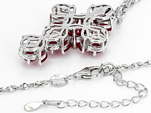 4.51ctw Mixed Shape Lab Created Ruby & .22ctw White Zircon Rhodium Over Silver Cross Pendant W/Chain