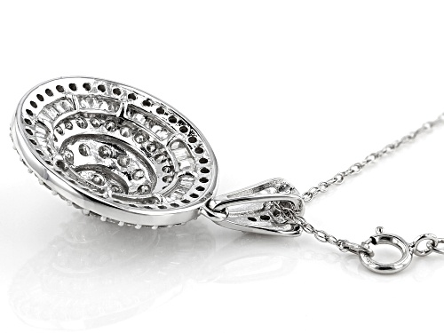 2.00ctw Round And Baguette White Diamond 10K White Gold Pendant With Chain