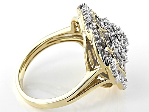 1.00ctw Round And Baguette White Diamond 10K Yellow Gold Ring - Size 5