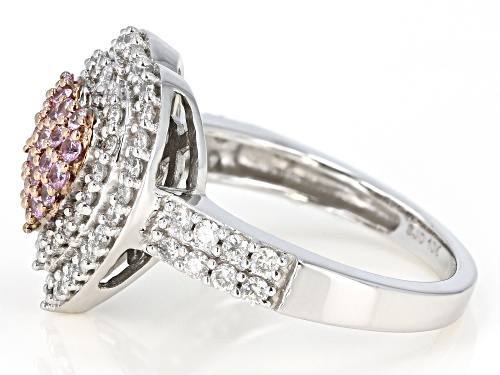 0.36ctw Round Pink Sapphire & 0.74ctw Round White Diamond 10K White Gold Heart Cluster Ring - Size 7