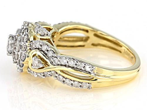 1.21ctw Round White Diamond 10K Yellow Gold Cluster Ring - Size 7