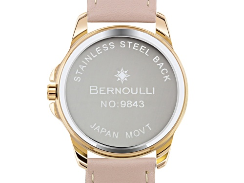 Bernoulli Faun Ladies Watch Genuine Leather Strap, Rose Gold Case, Pink Dial, White MOP Dial Core