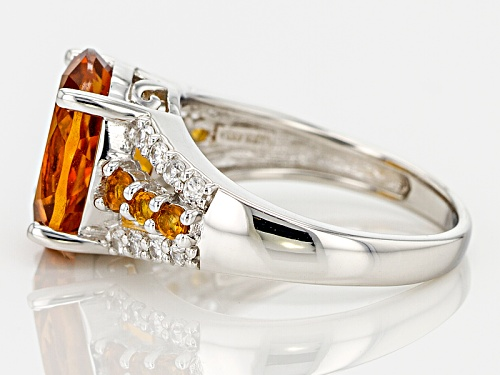 4.00ctw Oval And Round Brazilian Citrine With .29ctw White Zircon Sterling Silver Ring - Size 11