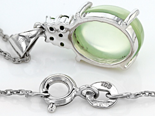 11x9mm Oval Cabochon Prehnite And .08ctw Round Russian Chrome Diopside Silver Pendant With Chain