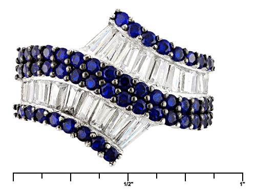 Bella Luce ® 4.12ctw Blue Sapphire And White Diamond Simulants Rhodium Over Sterling Silver Ring - Size 5
