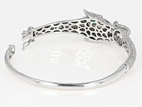 Bella Luce®8.63ctw Emerald,White and Black Diamond Simulants Rhodium Over Silver Elephant Bracelet - Size 7