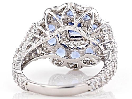 Bella Luce ® Esotica™ 5.96ctw Tanzanite And White Diamond Simulants Rhodium Over Silver Ring - Size 7