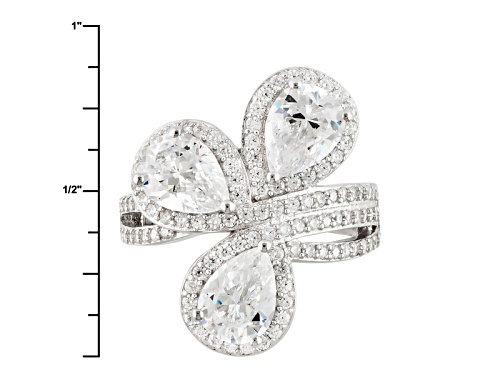 Bella Luce ® 7.64ctw Diamond Simulant Rhodium Over Sterling Silver Ring (4.44ctw Dew) - Size 9