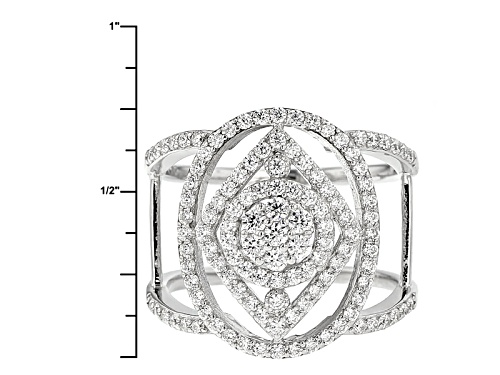 Bella Luce ® 1.54ctw Diamond Simulant Round Rhodium Over Sterling Silver Ring (.92ctw Dew) - Size 5