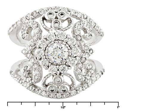 Bella Luce ® 2.30ctw White Diamond Simulant Rhodium Over Sterling Silver Ring (1.25ctw Dew) - Size 7