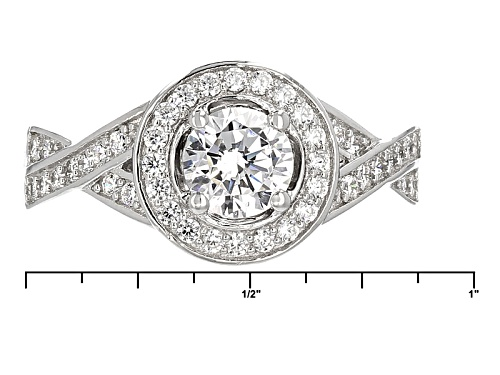 Bella Luce ® 3.62ctw Diamond Simulant Rhodium Over Sterling Silver Ring With Bands (1.60ctw Dew) - Size 11