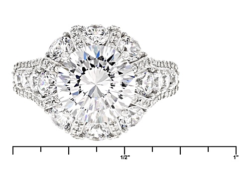 Bella Luce® Dillenium Cut 9.86ctw Diamond Simulant Rhodium Over Sterling Silver Ring (6.03ctw Dew) - Size 11