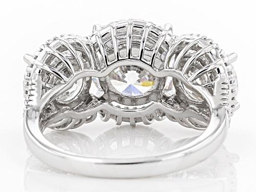 Bella Luce ® Dillenium Cut 12.70ctw White Diamond Simulant Rhodium Over Sterling Silver Ring - Size 6