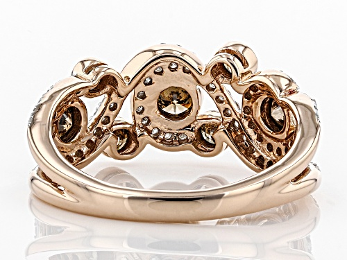 1.00ctw Round Champagne And White Diamond 10k Rose Gold Ring - Size 5