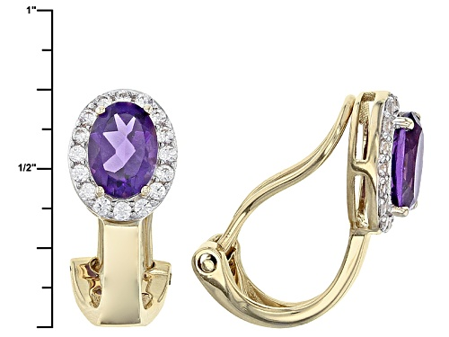 1.27ctw Oval African Amethyst And .25ctw Round White Zircon 14k Yellow Gold Clip On Earrings