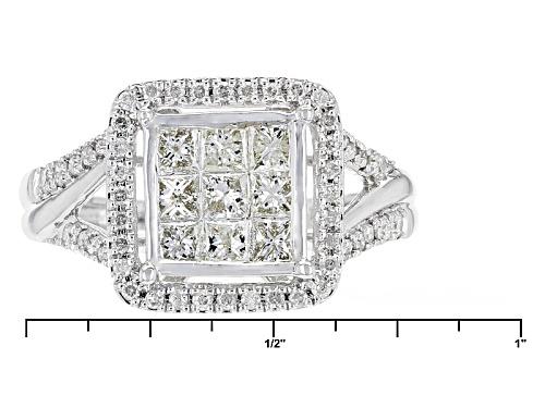 1.00ctw Round And Princess Cut White Diamond 10k White Gold Ring - Size 7