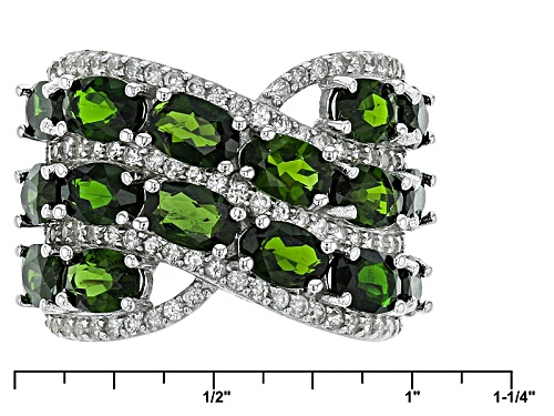 8.24ctw Oval Russian Chrome Diopside With 1.25ctw Round White Zircon Sterling Silver Ring - Size 5
