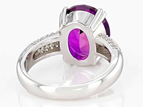 6.00ctw Lab Created Purple Sapphire with 0.40ctw White Zircon Rhodium Over Sterling Silver Ring - Size 8