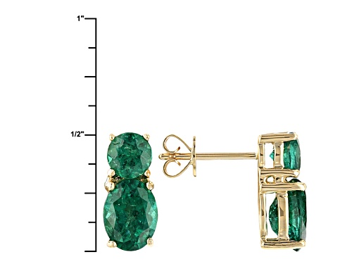 2.41ctw Oval And .90ctw Round Emerald Color Apatite 10k Yellow Gold 2-Stone Earrings