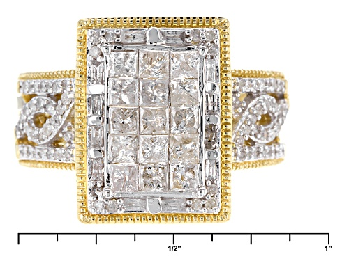 Engild™ 1.30ctw Princess Cut Round And Baguette White Diamond 14k Yellow Gold Over Silver Ring - Size 7